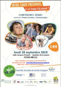 CONFÉRENCE-DÉBAT « Votre santé préservée, il est temps d'y penser » - 79500MELLE @ Salle Jacques Prévert | Melle | Nouvelle-Aquitaine | France
