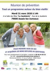 ANNULÉ - REUNION DE PREVENTION « Tout un programme autour du bien vieillir » - 79600 Assais-les-Jumeaux @ Salle des fêtes « La Jauleterie » | Assais-les-Jumeaux | Nouvelle-Aquitaine | France