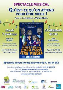 CONFÉRENCE THÉÂTRE « Qu'est-ce qu'on attend pour être vieux » - 86310 ST-GERMAIN @ Salle ABEL DEMAY | Saint-Germain | Nouvelle-Aquitaine | France