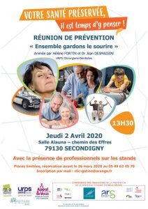 REUNION DE PREVENTION « Ensemble gardons le sourire » - 79130 SECONDIGNY @ Salle Alauna | Secondigny | Nouvelle-Aquitaine | France