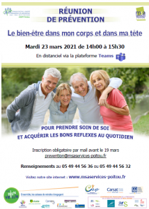 REUNION DE PREVENTION - Le bien-être dans mon corps et dans ma tête - En distanciel @ Distanciel | Champagné-Saint-Hilaire | Nouvelle-Aquitaine | France